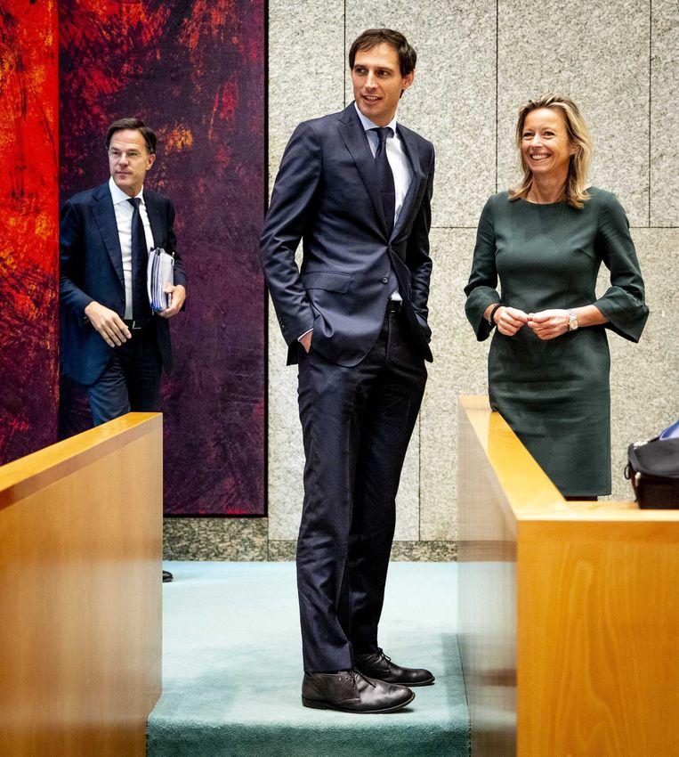 Premier Rutte en de ministers Hoekstra en Ollongren tijdens het Verantwoordingsdebat in juni.  Beeld Remko de Waal/ANP