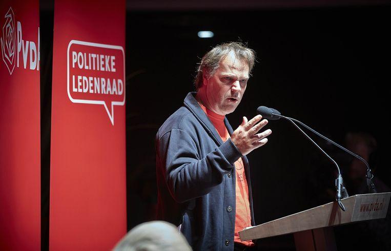 Partijvoorzitter Hans Spekman tijdens de politieke ledenraad. Beeld ANP