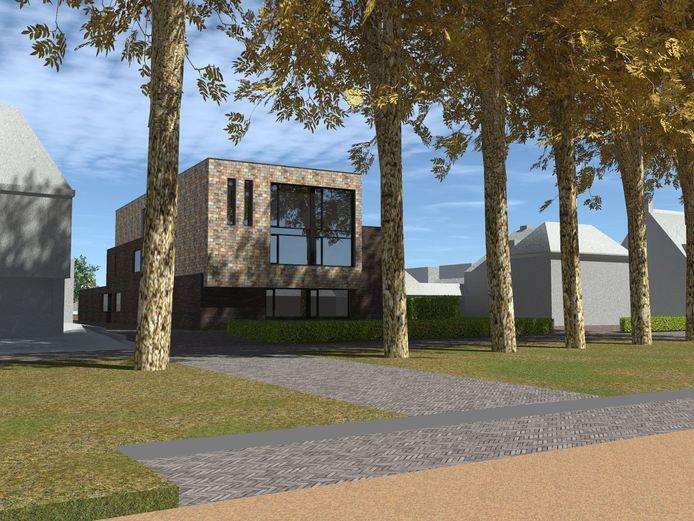 Artist impression - van de hand van architect Pieter Oosterhout - van de beoogde nieuwbouw. Links het kantoor van Bijmans Assurantiën.