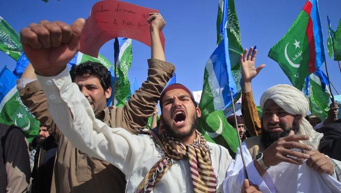 Protesten tegen de mogelijke koranverbranding.