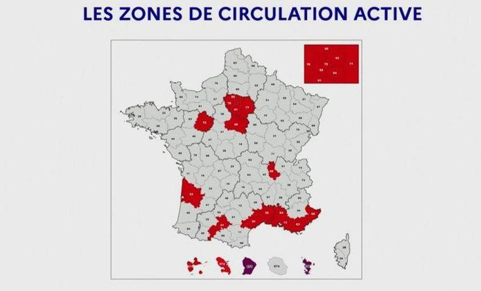 Les 21 départements classés en zone rouge