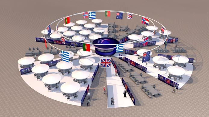 Het sfeervolle terras op de Binnenrotte. Hier kunnen fans uit alle deelnemende landen samenkomen.