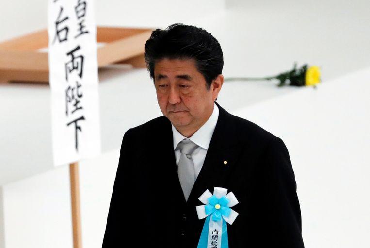 Premier Shinzo Abe tijdens de herdenkingsdienst van de Japanse capitulatie in de Tweede Wereldoorlog.