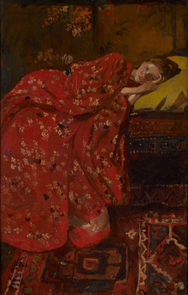 'In korte tijd heeft Breitner heel veel Meisjes in Kimono geschilderd. Mijn favoriete schilderij is dat met de oranje kimono.' Beeld null