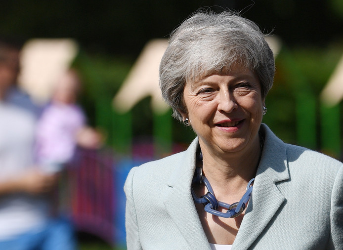 epa07594639 Britain's Prime Minster Theresa May casts her vote during the European elections in her Maidenhead constituency in Britain, 23 May 2019. The European Parliament election is held by member countries of the European Union (EU) from 23 to 26 May 2019.  EPA/NEIL HALL