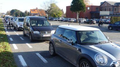 """Protest tegen herinrichtingsplannen gewestweg aan basisschool LEERNEst: """"Van meer dan honderd naar acht parkeerplaatsen, dat komt de veiligheid niet ten goede"""""""