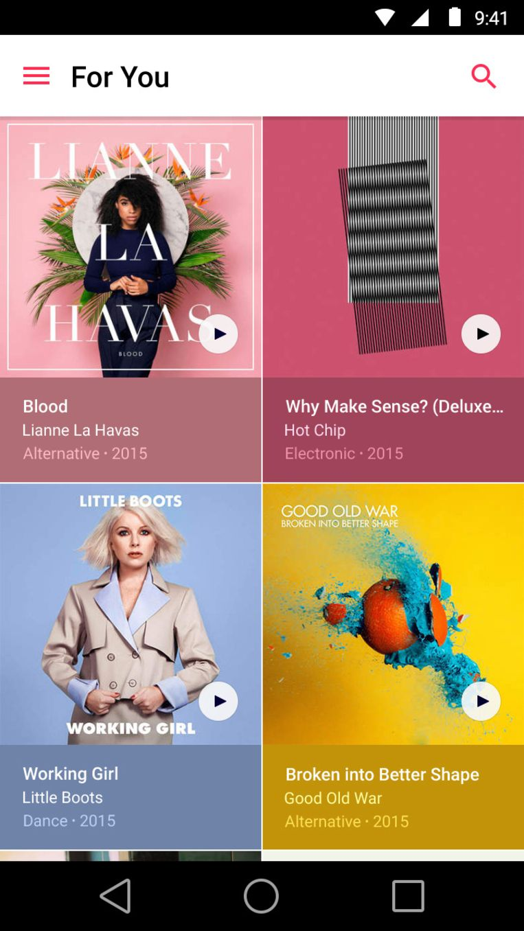 Apple Music op Android. Beeld Google Play Store