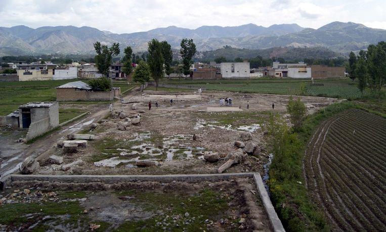 Het vernietigde huis in Abottabad waar Bin Laden in mei 2012 werd vermoord. Beeld anp