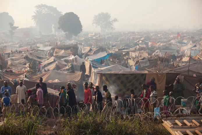 Een vluchtelingenkamp in Bangui, de hoofdstad van de Centraal-Afrikaanse Republiek.