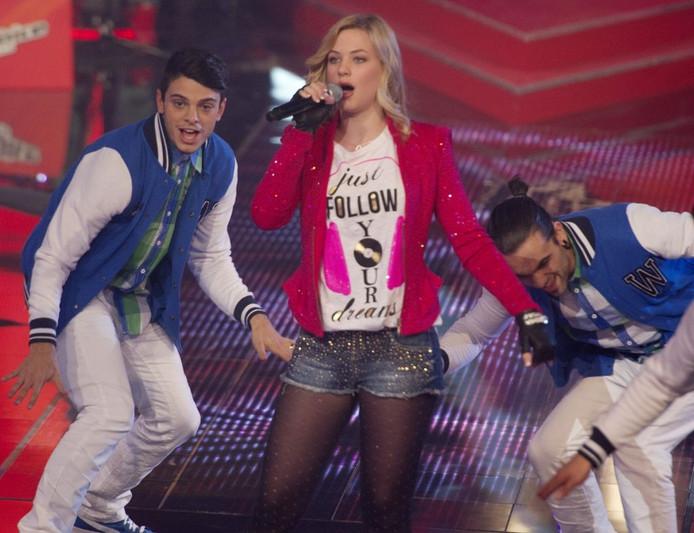 Winnares Fabiënne tijdens de finale van The Voice Kids. Foto: ANP