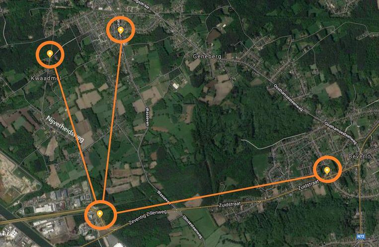 De vier locaties