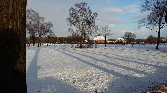 Lange schaduwen over de besneeuwde weilanden in de Doetinchemse buurtschap IJzevoorde.