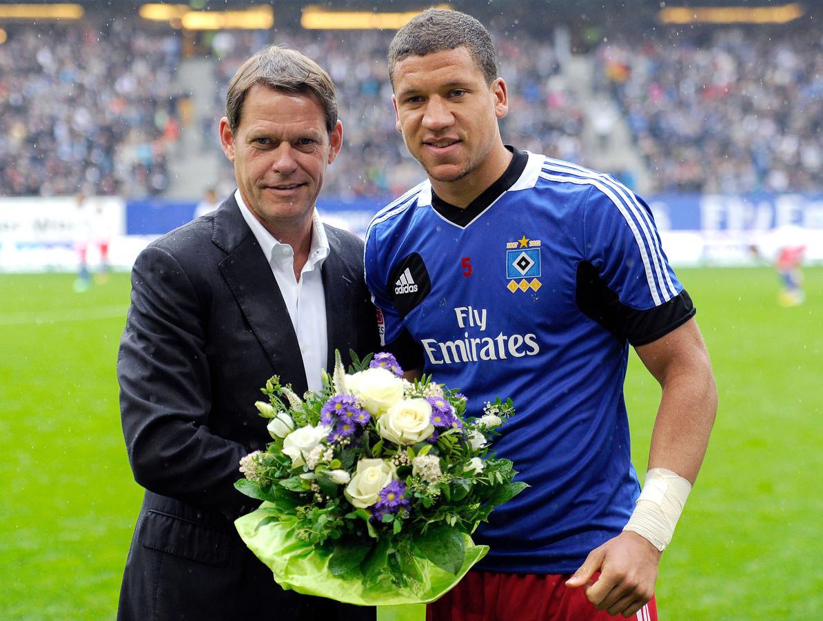 Frank Arnesen in zijn tijd bij HSV met Jeffrey Bruma.