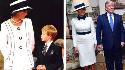 IN BEELD. Melania Trump lijkt eerbetoon te brengen aan Diana bij Brits staatsbezoek