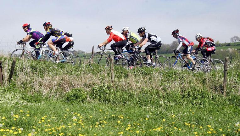 Amateur wielrenners in Limburg. Beeld anp