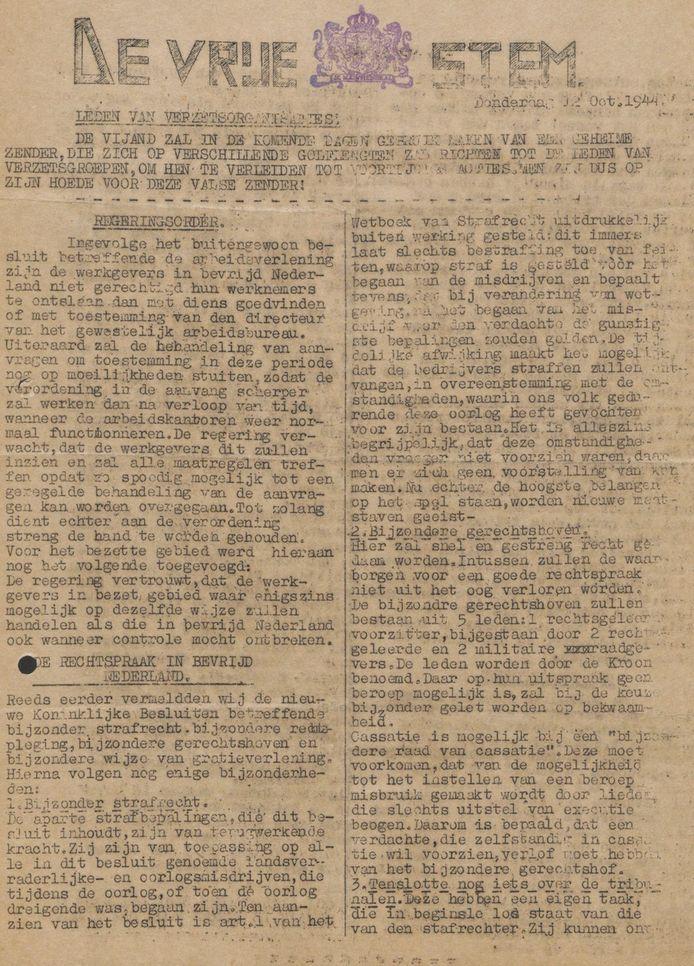 De illegale verzetskrant De Vrije Stem die van juni tot en met oktober 1944 in Oosterhout verspreid werd.