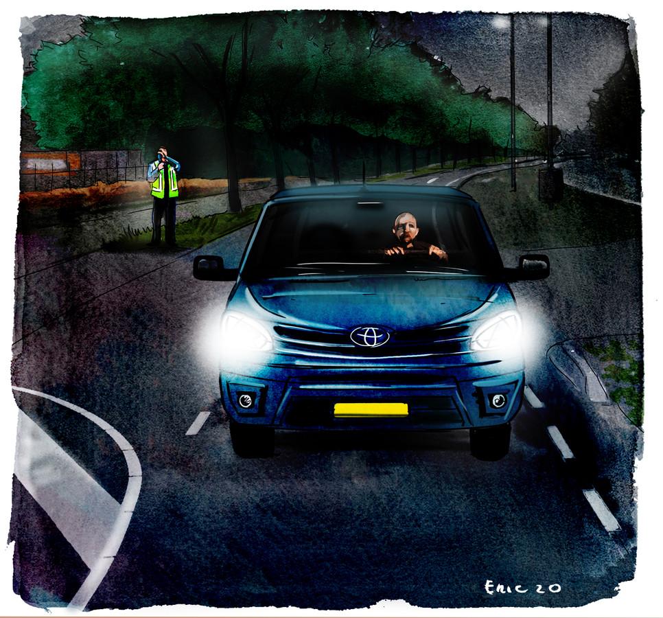 Op de avond dat Diederik veel te hard reed over de Bredase Kapittelweg, stond er een laserende agent langs de kant van de weg.
