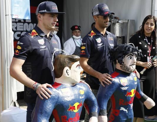 Ricciardo (r) samen met Verstappen.