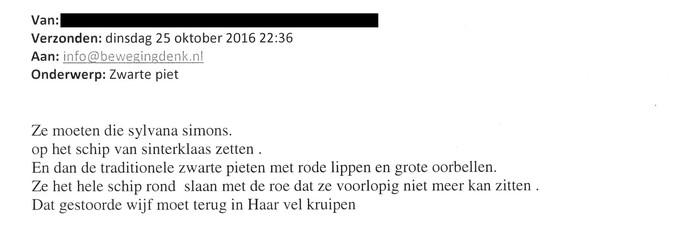 Een voorbeeld van een beledigende e-mail gericht aan Denk en Sylvana Simons.