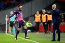 Erik ten Hag en Zakaria Labyad tijdens Ajax - FC Utrecht twee jaar geleden. De bezoekers wonnen toen met 1-2 Amsterdam.