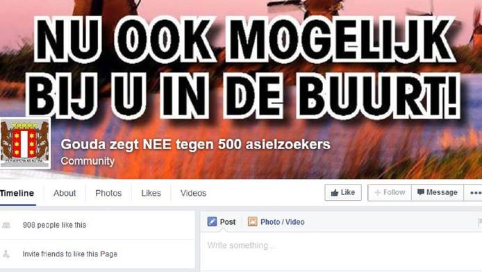 Screenshot van de pagina 'Gouda zegt NEE tegen 500 asielzoekers'