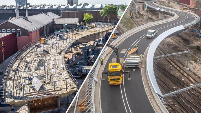 De busbrug toen die in mei op zijn plaats werd gereden (links) en bij het naderen van de voltooiing in januari van dit jaar.