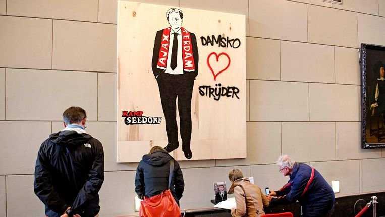 Damsko Strijder van Kamp Seedorf - een eerbetoon aan wijlen burgemeester Van der Laan - werd in eerste instantie verwijderd van een metrohalte van GVB, maar is door het Amsterdam Museum nieuw leven ingeblazen. Beeld anp