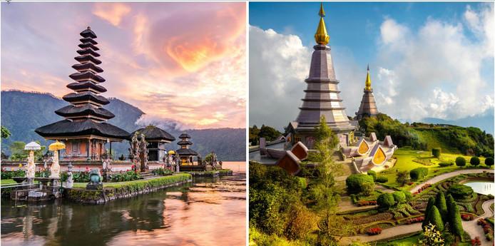 Links Pura Ulun Danu Bratan op Bali (Indonesië) en rechts de Inthanon berg in Chiang Mai (Thailand).