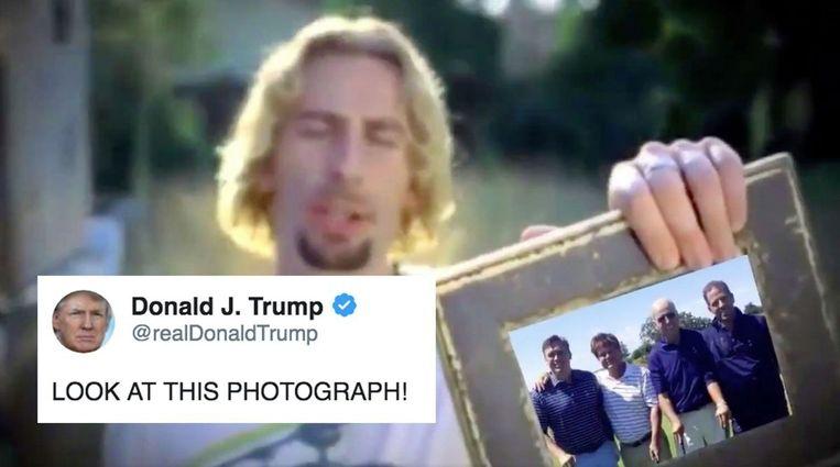 Donald Trump gebruikte en beeld uit de clip van Nickelback en plaatste een foto van zijn rivaal Joe Biden, diens zoon Hunter en enkele Oekraïense hoogwaardigheidsbekleders de fotolijst.