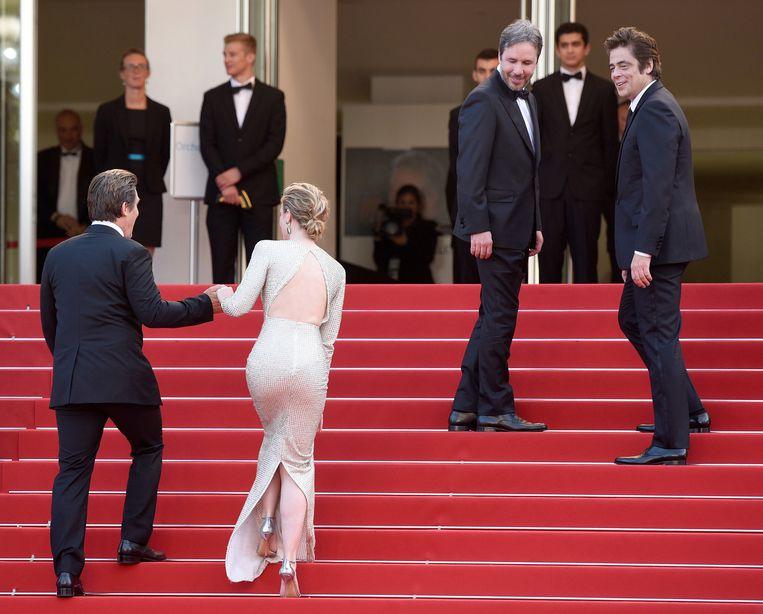 Acteur Josh Brolin, actrice Emily Blunt, regisseur Denis Villeneuve en acteur Benicio Del Toro in Cannes. Beeld Getty Images