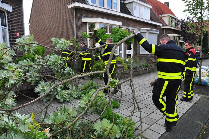 Brandweer ruimt de boom op in Waalwijk.