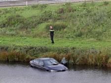 Wesp brengt bestuurder zó aan het schrikken dat hij met auto in water belandt naast A59