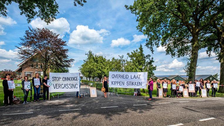 Demonstranten protesteren maandag bij pluimveehouder Bouwhuis in Witteveen. 'We willen niet ongezien voorbij laten gaan dat hier 72 duizend kippen worden vergast.' Beeld raymond rutting