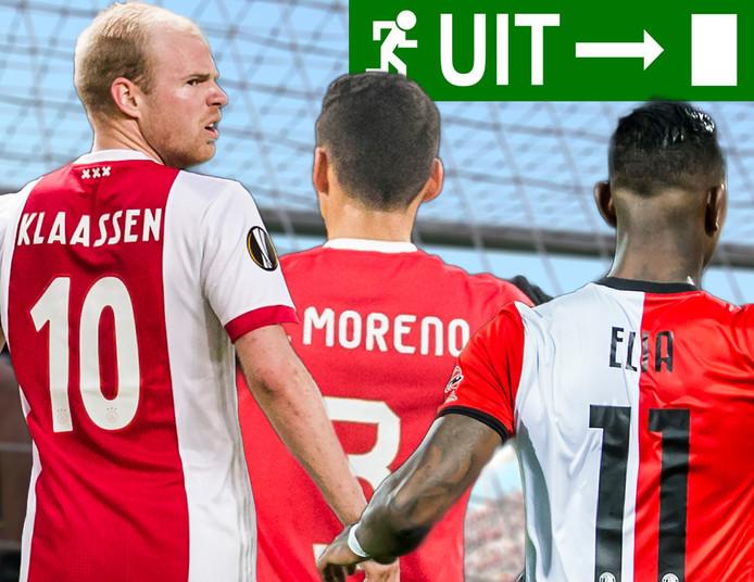 Davy Klaassen, Héctor Moreno en Eljero Elia gaan de eredivisie de rug toekeren.