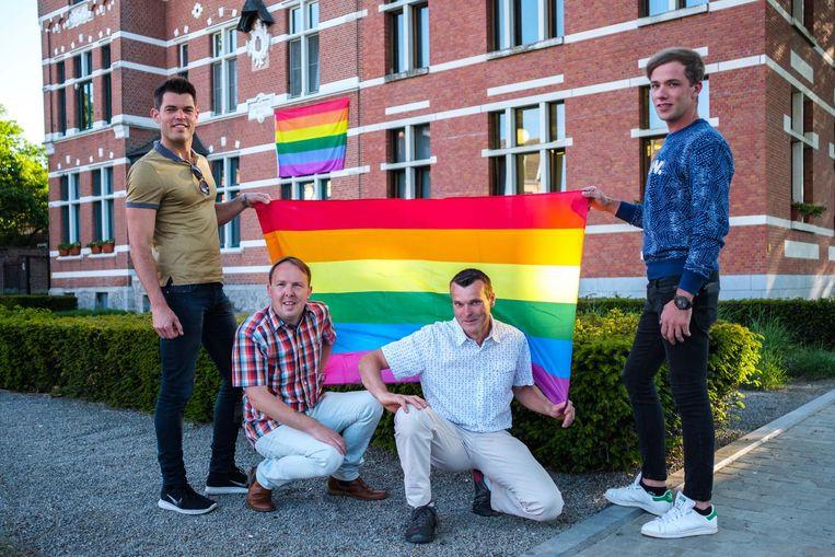 Schepen Bart Van der Velde, Kristof Lauwers, Dirk Rollenberg (voorzitter Regenboog) en Ziggy Pintens.