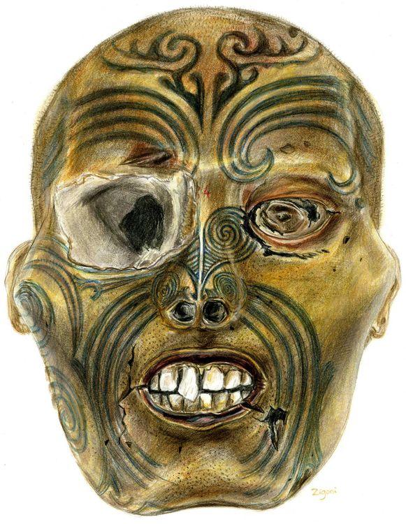 Computertekening van een Maorihoofd dat in 2011 al naar Nieuw-Zeeland terugkeerde uit een museum in het Franse Rouen.