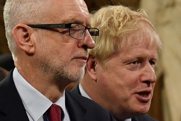 Labour-oppositieleider Jeremy Corbyn (links) en Brits premier Boris Johnson