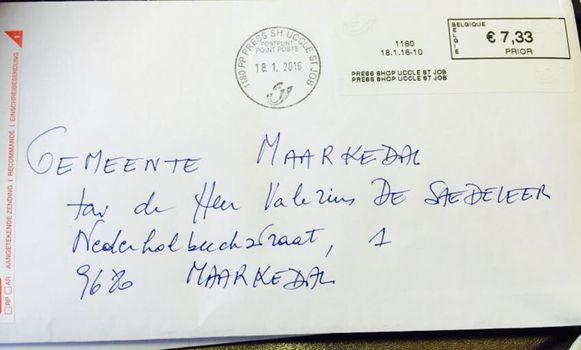 De brief bleek gericht te zijn aan het Administratief Centrum 'Valerius De Saedeleer'.