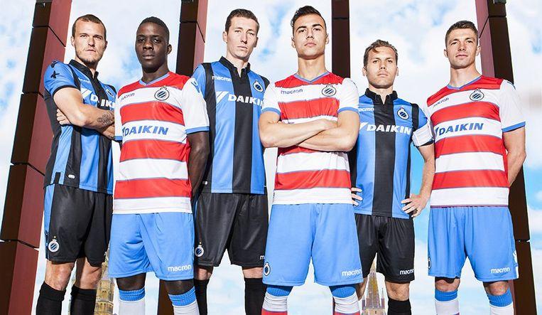 Scholz, Nakamba, Vanaken, Cools, Vormer en Mechele mochten de nieuwe shirts al een keer aantrekken.