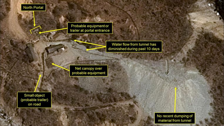 Een satellietfoto van Punggye-ri. Beeld AFP
