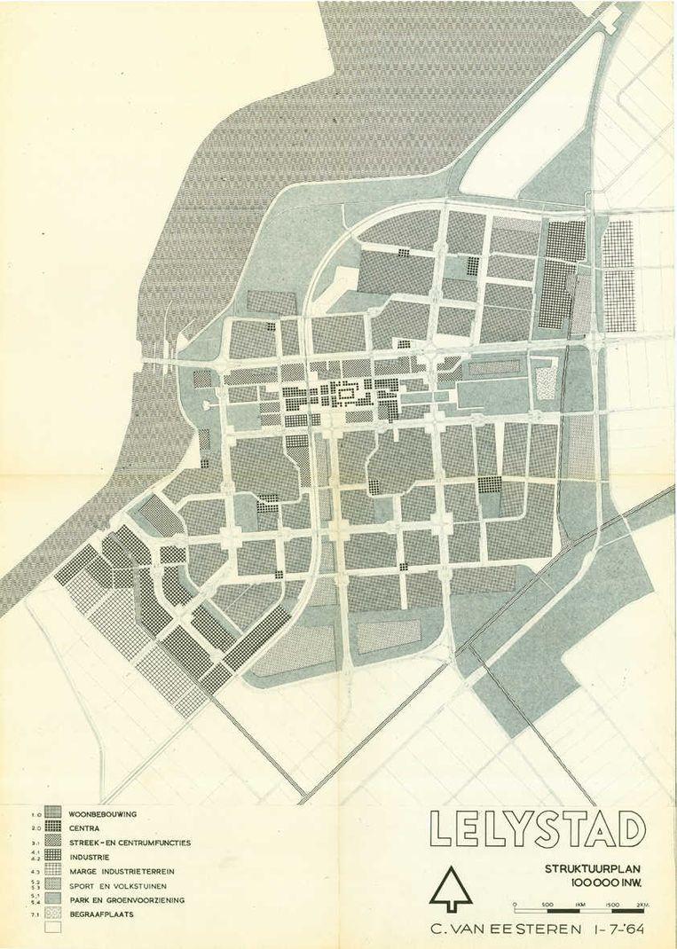 Plan voor Lelystad van Van Eesteren. Beeld Van Eesterenmuseum