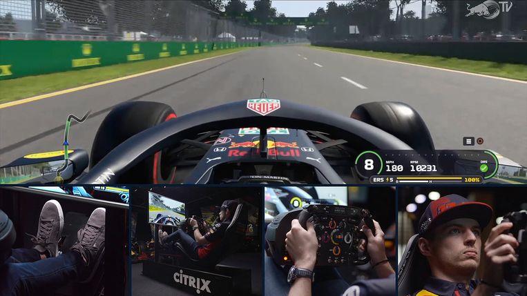 Max Verstappen verkent op de simulator het circuit van Albert Park in Melbourne. Beeld Red Bull Racing