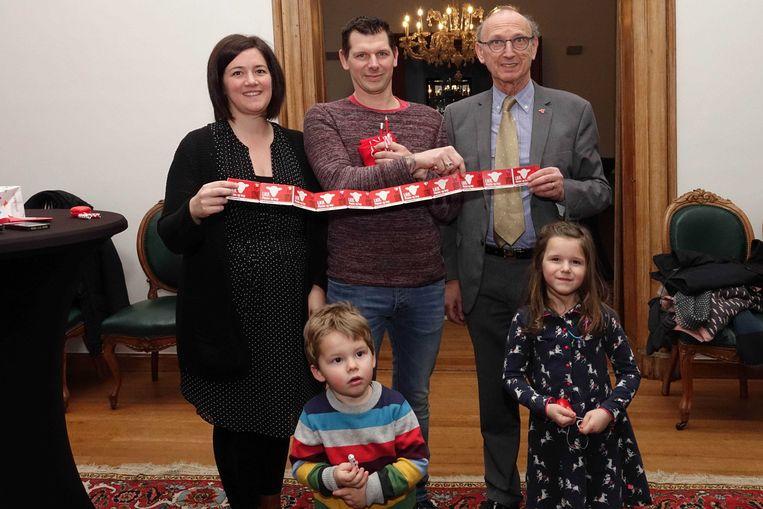 De familie Goossens-Vekemans won voor driehonderd euro aan bonnen met de eindejaarsactie van de stad Lier.