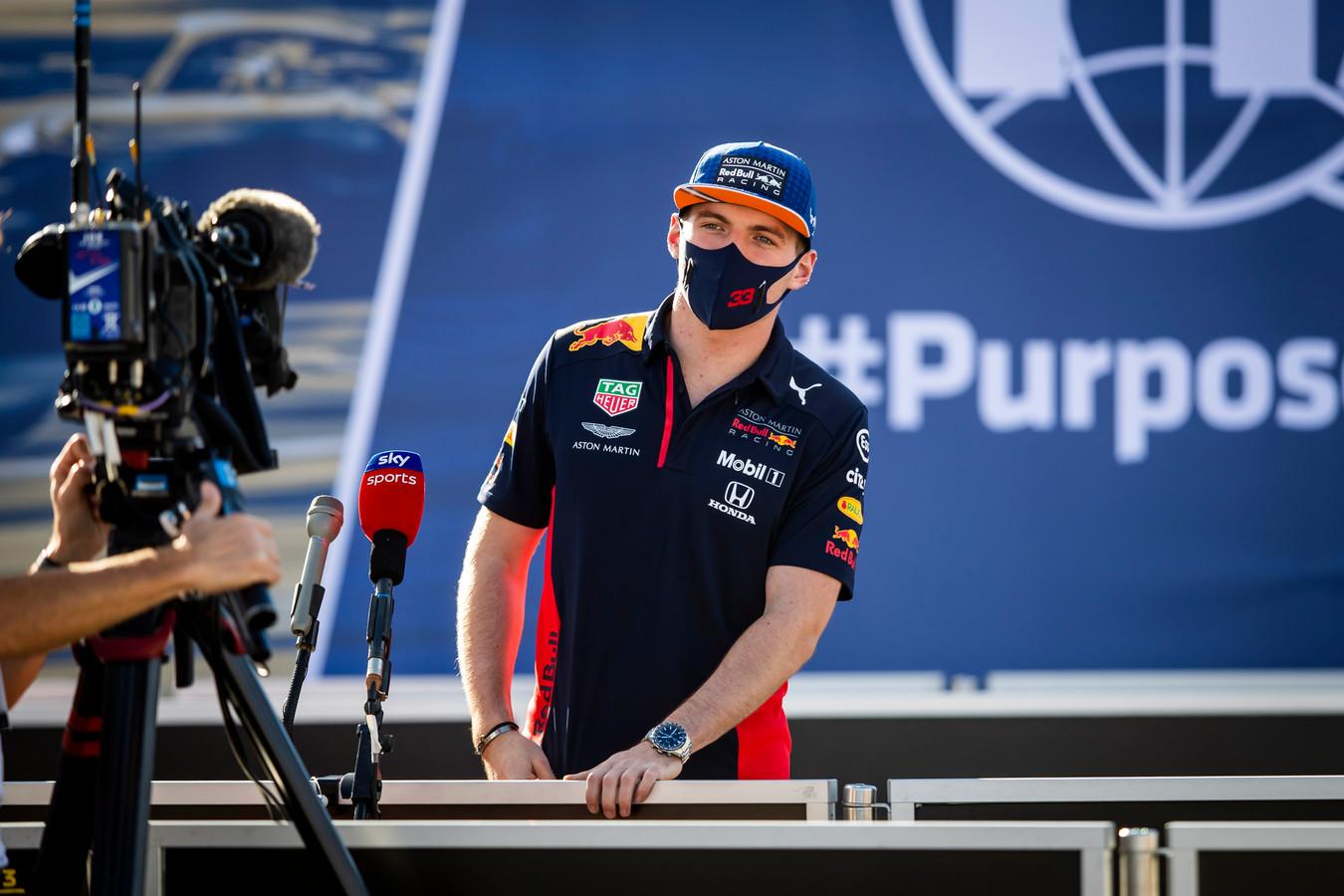 Max Verstappen, gisteren tijdens zijn videoconferentie vanuit Portugal.