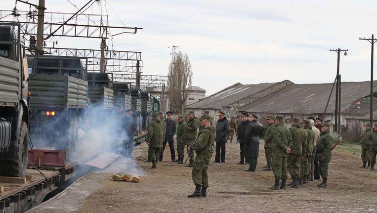 Russische soldaten op de Krim. Beeld afp