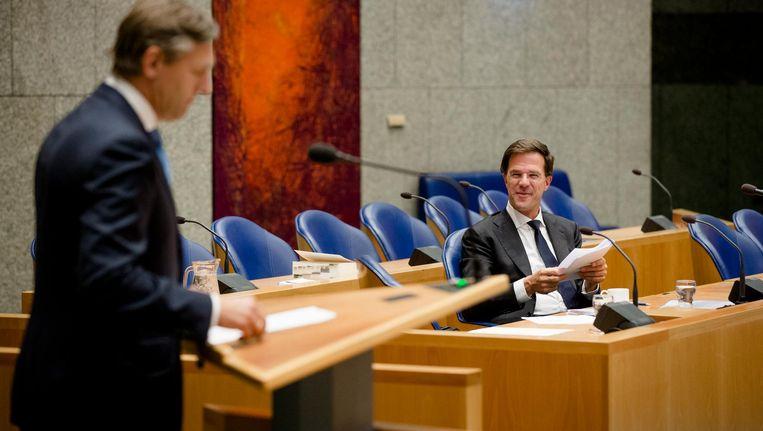 Rutte in debat met Buma van het CDA over de participatiesamenleving in 2014 Beeld anp