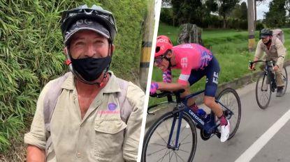 En plots nestelt Colombiaanse boer zich met 45 km/u in het wiel van Uran, nummer 2 van de Tour van 2017