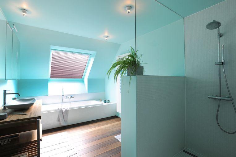 Hout in de badkamer kan perfect. Door het vele blauw heb je weinig verbeelding nodig om je in de Caraïben te wanen.