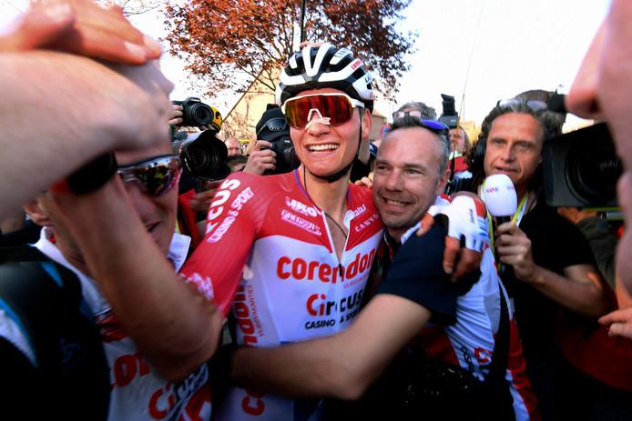 Mathieu van der Poel na zijn winst in de Amstel Gold Race afgelopen zondag.