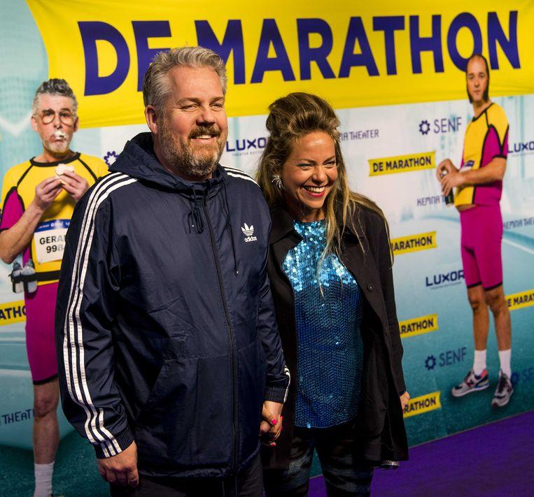 Thomas Acda, die de liedjes voor de musical schreef, bij de première van de De Marathon Beeld ANP